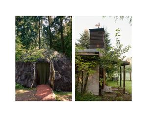 """Indian hut & Shack wth weathercock"""