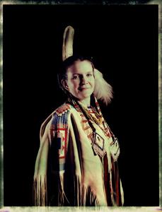 #17, German powwow dancer, Portrait taken at the local powwow convention, bleach Fuji Fp100c, negative scan, Kladno, Czech Rep. 2015