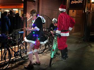 Bicycle Santa and Elf