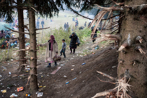 Migrants walking through the forest which was used for the firewood in the refugee camp