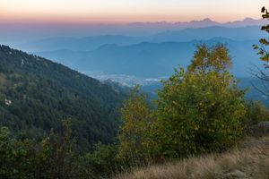 View from a ridge separating the Varaita and Maira (or Macra) valleys, overlooking the town of Dronero, Cuneo, Italy