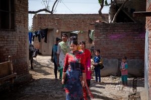 Rajkumari gathers girls from her community for peer group.
