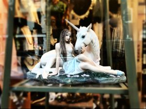 Unicorn Figurine, Shop Window, Frederick, Maryland