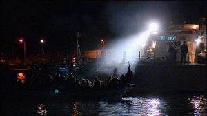 Island of Lampedusa, Italy (2011). Migration. Night rescue.