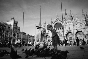 Mother and daughter, St Mark Square, Venice, Italy