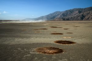 Dust Storm in Dry Shallow Flood Pond, Owens Lake, CA
