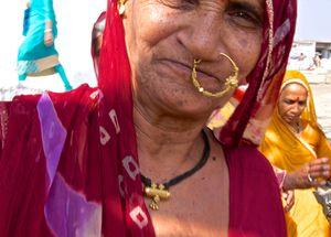 Pilgrims, outside the Hanuman Temple, Karnataka, India