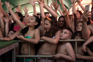 "The enthusiastic audience during Nancy concert at ""Lido La Favorita"", Castel Volturno."