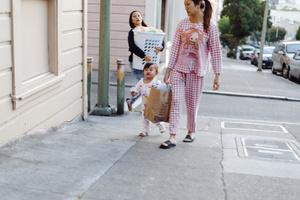 Pink checkered pajamas
