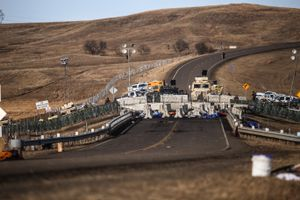 A fortified barricade on the Backwater Bridge on Highway 1806 blocks access to the construction site of the Dakota Access Pipeline near the Oceti Sakowin Camp in Cannon Ball, North Dakota in November 2016.
