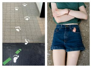 Footprints and Paw prints & Little plastic hand