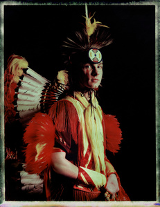 #7, German powwow dancer, Portrait taken at the local powwow convention, bleach Fuji Fp100c, negative scan, Kladno, Czech Rep. 2015