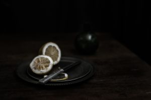 Lemon with Knife