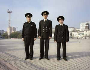 Port officials. Vladivostok. Far East Russia, October 2004 From the book, Motherland, by Simon Roberts © Simon Roberts
