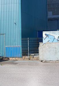 Blue and concrete.