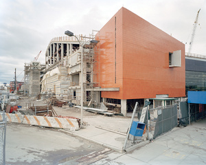Newtown Creek Water Pollution Control Plant, visitors center under construction, 329 Greenpoint Avenue, Greenpoint, Brooklyn, looking north