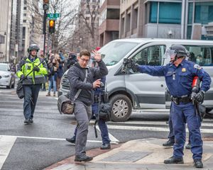 Photographer Challenged by Police with Riot Spray, Inauguration  Day, Washington, D.C.