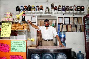 Principe negro at his taco store