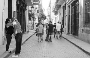 Lovers and Tourists on the Streets of Havana Cuba