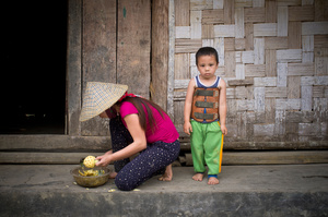 Black Hmong mother and son