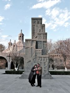 Located near the Etchmiadzin Cathedral, this monument is composed of four khachkars flanked by an eagle. It is the first memorial dedicated to the 1915 genocide built within Soviet Armenia, in 1965.