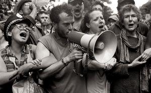 Anti-fracking protesters singing at Balcombe, UK, 2013.