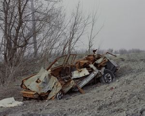 A car bombarded by an B-21 Grad - one of the most unpredictable weapons. Hirs'ke, ATO zone (war zone), Ukraine, March 2015.