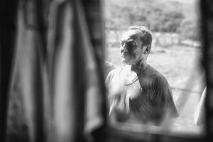 In the mirror of the shepherd's hut.