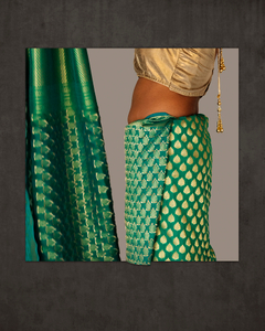 Gold and Green Sari with Gold Tassel