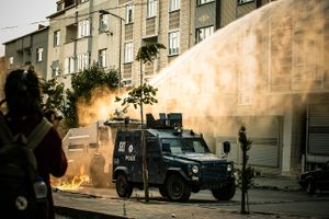 Turkish police use water cannon and tear gas grenades to disperse demonstrators during anti-government demonstration in Gazi neighbourhood in Istanbul, Turkey.
