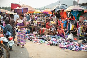 A busy market place a few miles from Freetown.