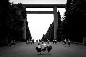 Schoolgirls leave the Yasukuni Shrine, Tokyo