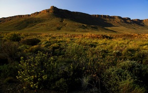 Karoo highlands / The Karoo highlands are frequently crossed by large outcrops with a flat top, like this one in a private reserve near Calvinia, Northern Cape.