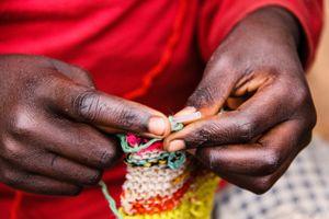Young Girl Hand-Knitting, Musanze Rwanda Africa