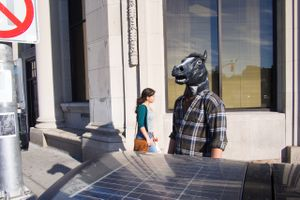 Untitled (guy in horse mask on Mass Ave.), 2013