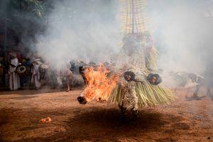 The spectacular dance is accompanied by an earsplitting, yet pleasingly rhythmic drumbeat.
