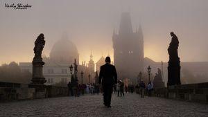 Prague. Morning. The Mysticism of Charles bridge