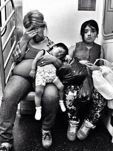 Exhausted NYC - Families (B&W) 2