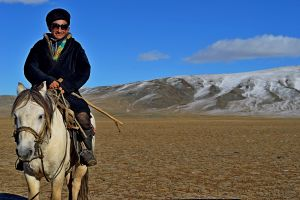 Mongolian eagle hunter horseback riding in the great steppe.