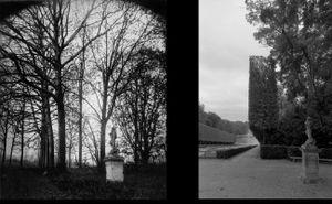 Parc de Sceaux,  avril 1924, © Eugene Atget. Parc de Sceaux,  July 1998, © Christopher Rauschenberg.