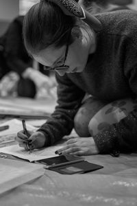 Focused on drawing