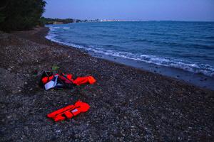 Abandoned life vests on Kos beach