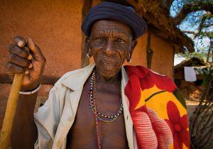 Samburu elder and laundry