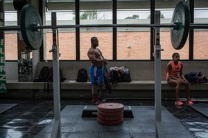 Fabio Torres, 39, before a training session of power-lifting in High Performance Center, Bogotá, Bogotá, June 2016.