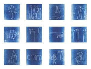 Array of 12 cyanotypes printed from laser-etched negatives © Hans Gindlesberger