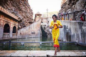 Pilgrim bathing at the Monkey Temple