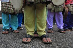 Malay traditional kompang players.