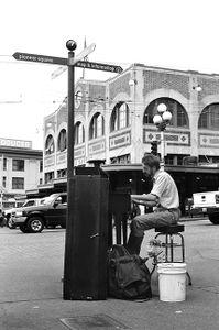 Pianist on the street corner