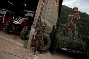 Cours de réception de l'armée Suisse, Intyamon. Swiss army training course