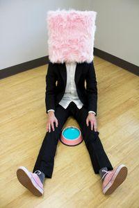 Pink Box Man with Bowl